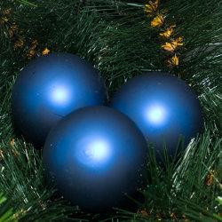 Kerstballen blauw mat