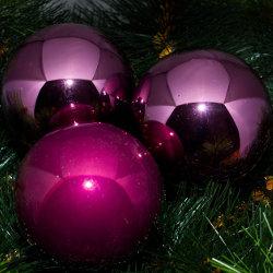 Kerstballen paars glanzend gemengd
