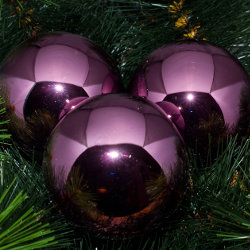 Kerstballen paars glanzend