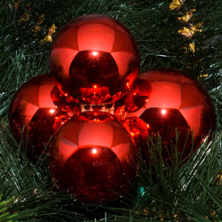Kerstballen rood glanzend