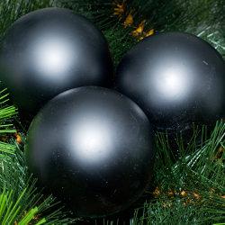 Kerstballen zwart mat