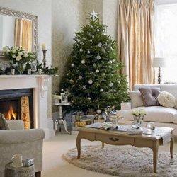 Impressie kerstboom en decoratie voor open haard