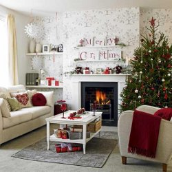 Impressie kerstdecoratie, de gehele kamer in kerstsfeer
